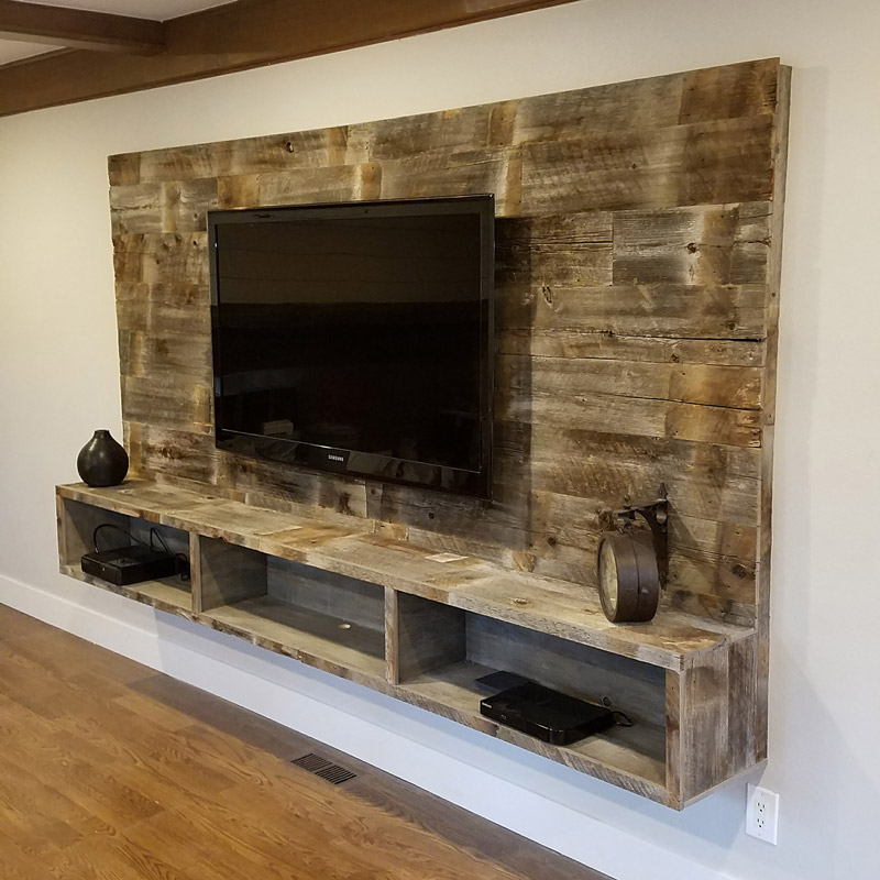 Wood Wall with Floating Entertainment Shelf