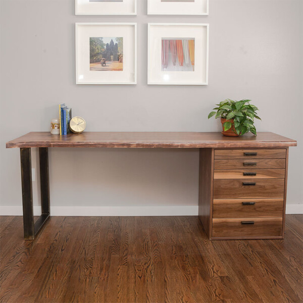 Natural wood desk with drawers and steel leg
