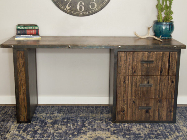 Rustic wood desk made from reclaimed materials