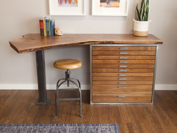 Custom wood desk with many small drawers