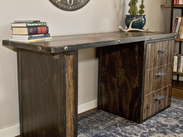 Handcrafted rustic wood desk