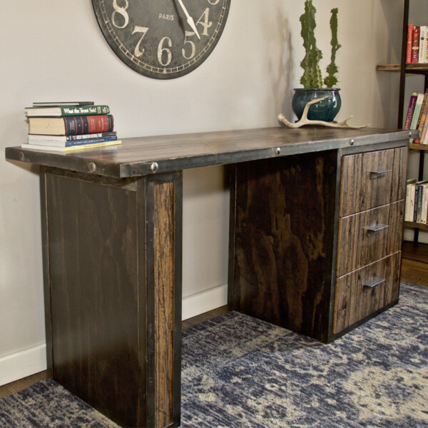 Handcrafted rustic wood desk