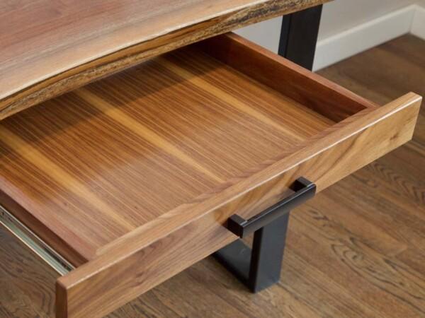 Natural wood desk drawer